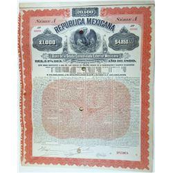 Republica Mexicana - Bono De La Deuda Consolidada Exterior Mexicana, 1899 Specimen Bond.
