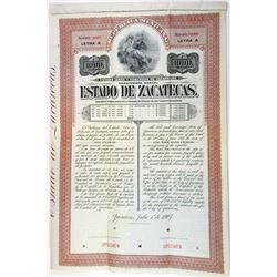 Republica Mexicana - Bonos del Estado de Zacatecas, 1907 Specimen Bond.