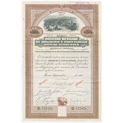 Sociedad Mexicana De Molineria Y Pacification Sistema Schweitzer, SA, 1902 Specimen Bond.
