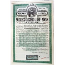 Sultepec Electric Light and Power Co., 1908 Specimen Bond