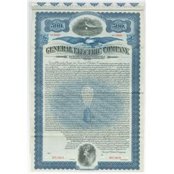 General Electric Co. Specimen Bond, 1912 Very Early Issue.