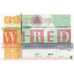 WIRED ca.1993 Internet Era Magazine Specimen Stock Certificate.