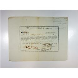 Wisconsin Land Company, 1836, Stock Certificate.