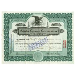 Alaska Copper Corp., 1912 Issued Stock Certificate Serial #1.