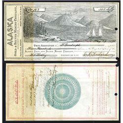 Alaska Gold & Silver Mining Company, 1878 Stock Certificate Rarity.