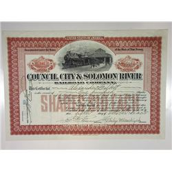 Council City & Solomon River Railroad Co., 1905 Issued Alaska Stock Certificate Rarity.