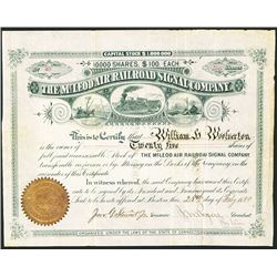 McLeod Air Railroad Signal Co. 1880 Issued Stock Certificate.