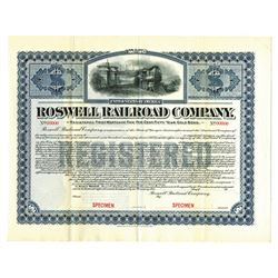 Roswell Railroad Co., 1903, Registered Specimen Bond.