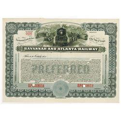 Savannah and Atlanta Railway, 1917 Specimen Stock Certificate