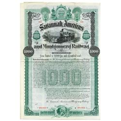 Savannah, Americus and Montgomery Railway, 1889, $1000 Specimen Bond.