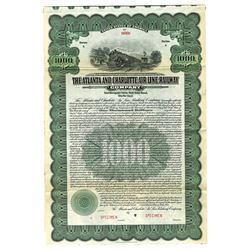 Atlanta and Charlotte Air Line Railway Co., 1914 Specimen Bond.