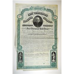 East Tennessee, Virginia and Georgia Railroad Co., 1880 Specimen Bond, Possibly Unique.