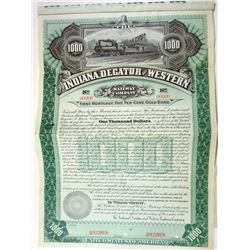 Indiana, Decatur and Western Railway CO., 1895 Specimen Bond