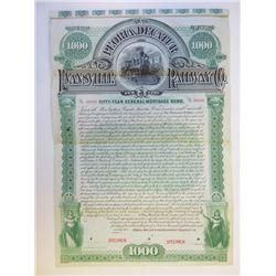 Peoria, Decatur and Evansville Railway Co., 1892 Specimen Bond
