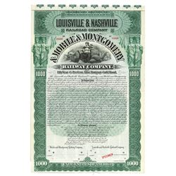 Louisville & Nashville Railroad Co. & Mobile & Montgomery Railway Co., 1895 Specimen Bond.