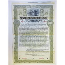 New Orleans City Rail Road Co., 1899 Specimen Stock Certificate