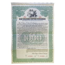 New Orleans Cotton Exchange, 1920 Specimen Bond