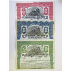 New Orleans, Texas & Mexico Railway Co., 1924-1926 Trio of Specimen Bonds