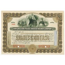 New Orleans, Texas and Mexico Railway Co., 1921 Specimen Stock Certificate