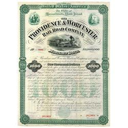 Providence & Worcester Railroad Co., 1877 Unique Specimen Bond