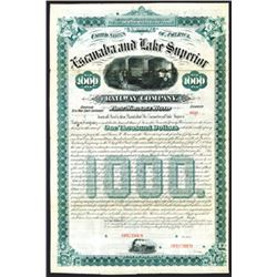 Escanaba and Lake Superior Railway. 1882. Specimen Bond.