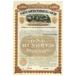 Saint Louis, Watkins and Gulf Railway Co., 1902 Specimen Bond.