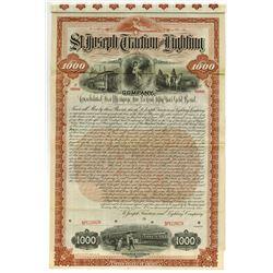 St. Joseph Traction and Lighting Co., 1893 Specimen Bond.