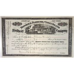 Brooklyn, Flatbush and Coney Island Railway Co., 1878 Issued Stock Certificate.