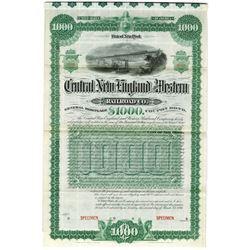 Central New England & Western Railroad Co., 1891 Specimen Bond