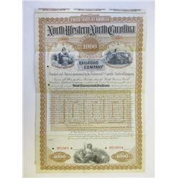 North Western North Carolina Railroad Co., 1888 Specimen Bond