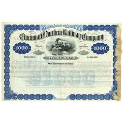 Cincinnati Northern Railway Co., 1881 Specimen Bond Rarity.