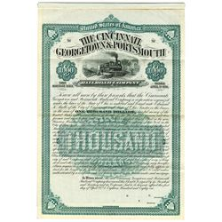 Cincinnati, Georgetown & Portsmouth Railroad Co., 1881 Specimen Bond.