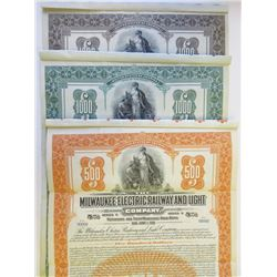 Milwaukee Electric Railway and Light Co., 1921 Trio of Specimen Bonds