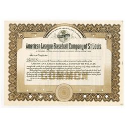American League Baseball Co. of St. Louis, ca.1910-1920 Specimen Stock Certificate - St. Louis Brown