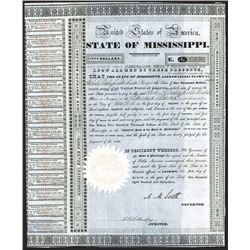 State of Mississippi 1833 Issued Bond.