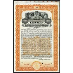 Lincoln Telephone and Telegraph Co., 1916 Specimen Bond.