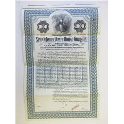 New Orleans Power House Co. Ltd., 1901 Specimen Bond