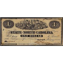 1863 $1 State of North Carolina Obsolete Note