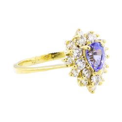 18KT Yellow Gold 1.49 ctw Tanzanite and Diamond Ring