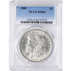 1888 $1 Morgan Silver Dollar Coin PCGS MS63