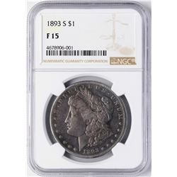 1893-S $1 Morgan Silver Dollar Coin NGC F15