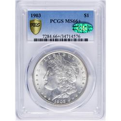 1903 $1 Morgan Silver Dollar Coin PCGS MS66+ CAC