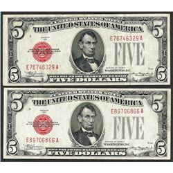 Lot of (2) 1928C $5 Legal Tender Notes