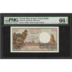 1975 Tresor Public French Afras & Issas 500 Francs Note PMG Gem Uncirculated 66E