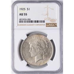 1925 $1 Peace Silver Dollar Coin NGC AU55