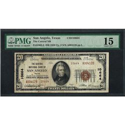 1929 $20 National Currency Note San Angelo, TX CH# 10664 PMG Choice Fine 15