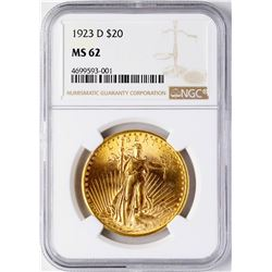 1923-D $20 St. Gaudens Double Eagle Gold Coin NGC MS62