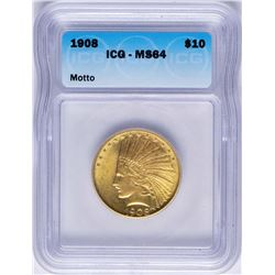 1908 with Motto $10 Indian Head Eagle Gold Coin ICG MS64