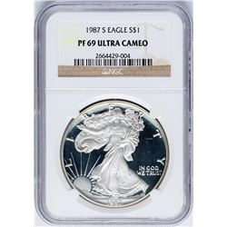 1987-S $1 Proof American Silver Eagle Coin NGC PF69 Ultra Cameo