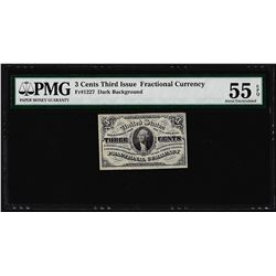 March 3, 1863 3 Cents 3rd Issue Fractional Currency Note PMG About Uncirculated